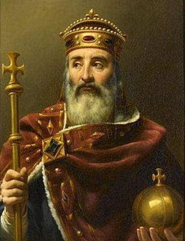 Carlomagno.  (  2 de abril de 742, 747 o 748 – Aquisgrán, 28 de enero de 814)