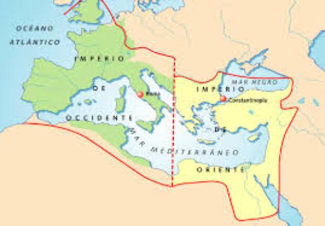 División del Impero Romano en Roma occidental y Roma oriental