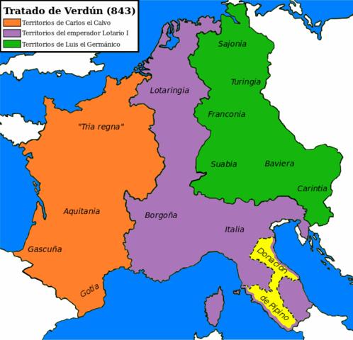 Tratado de Verdún. El imperio franco queda dividido en tres reinos.