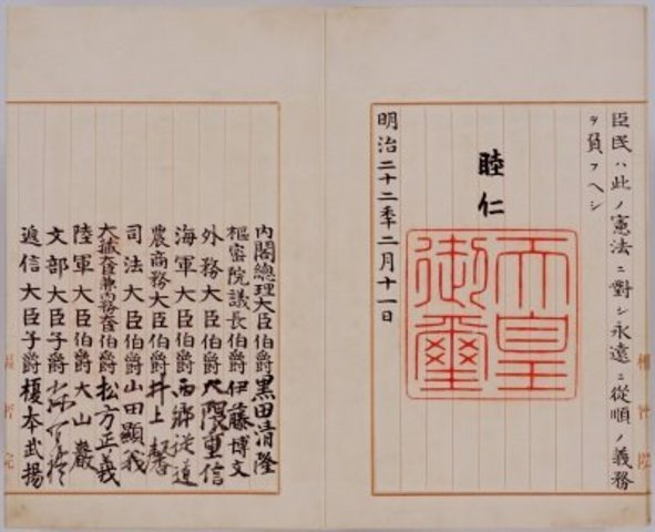 Meiji constitution adopted