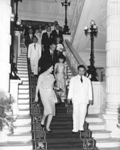 Vice President Johnson tours Saigon