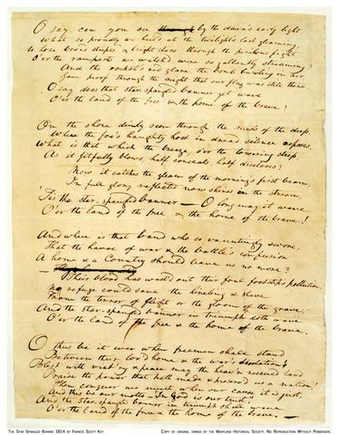 Writing of th Star Spangled Banner