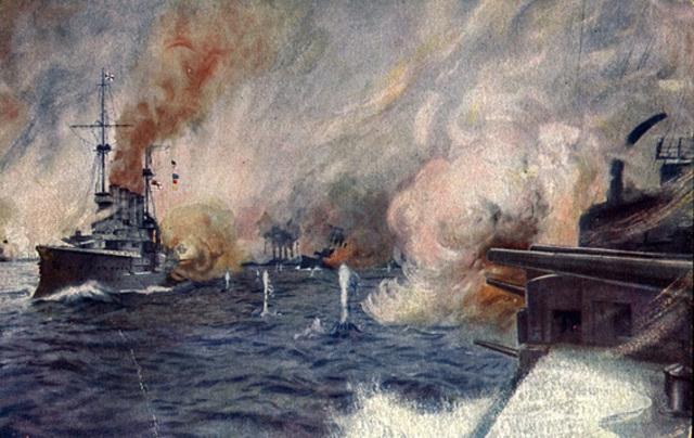 Batalla naval de Jutlandia, entre ingleses y alemanes.