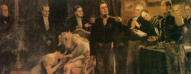 – Abdicação de D. Pedro como imperador do Brasil no Rio.