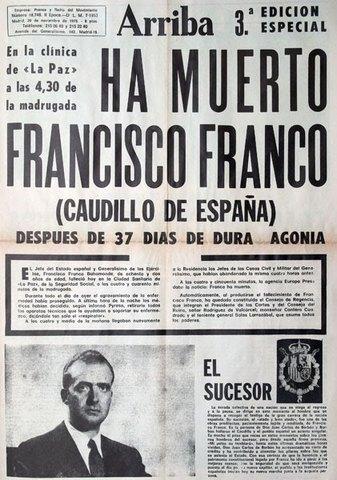 Muere Francisco Franco. Juan Carlos I, es proclamado Rey de España.