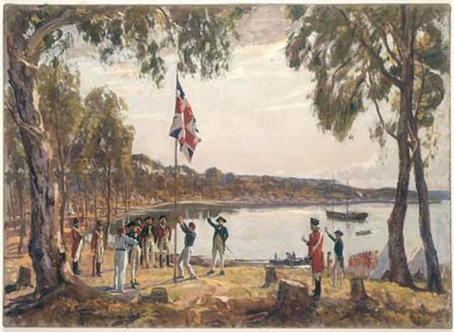 Arrival of First Fleet in Botany Bay, AUS