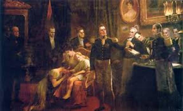 Abdicação de D. Pedro como imperador do Brasil no Rio.