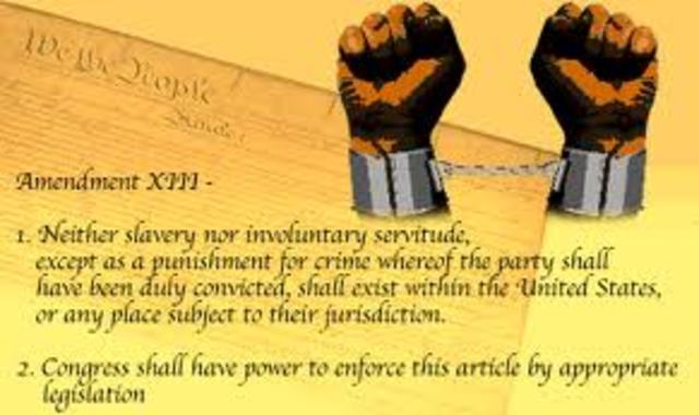 Thirteenth amendment of the constitution of the United States Of America