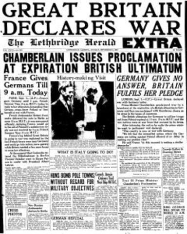 Britain declares war on Germany.