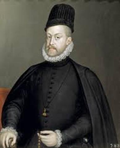 King Philip II inherits Spain, Spanish Netherlands, and the American Colonies