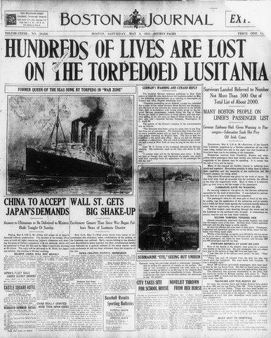 Germans sink a British passanger ship