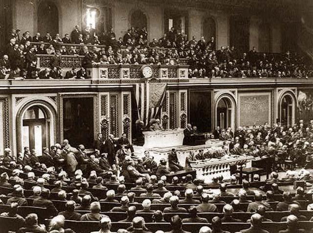 President Wilson Asks for Declaration of War