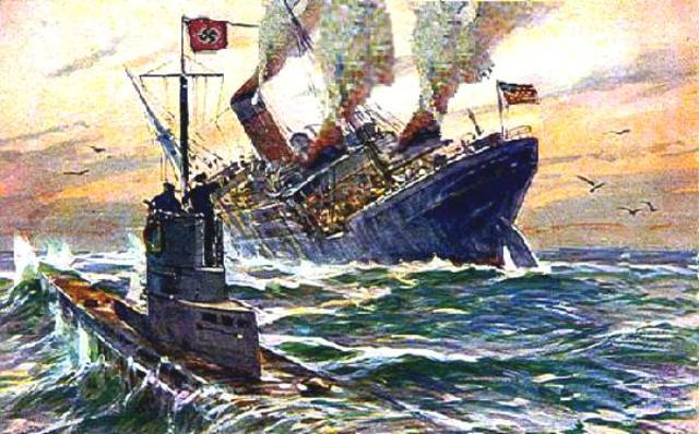 "German U-boat torpedoes ""Lusitania"""