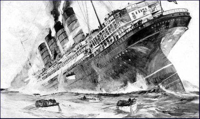 The British passenger ship Lusitania sinks