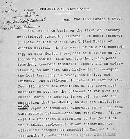 Newspaper in the US publish the Zimmermann Telegram