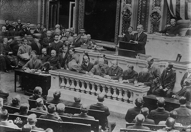 Woodrow Wilson asks for a declaration of war against Germany