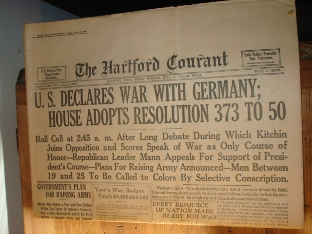 The US declares war on Germany and enters WWI