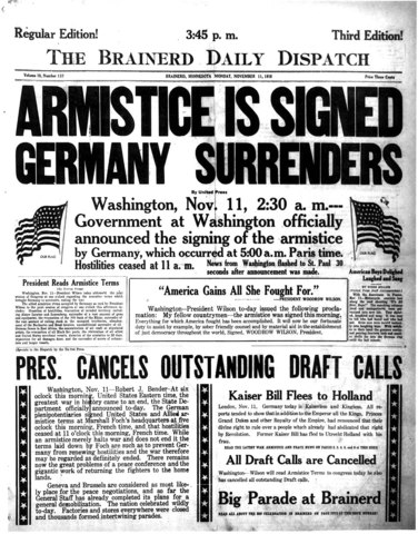 Germany signs the armistice and WWI ends