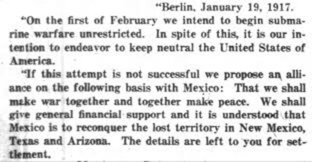 Zimmermann telegram published