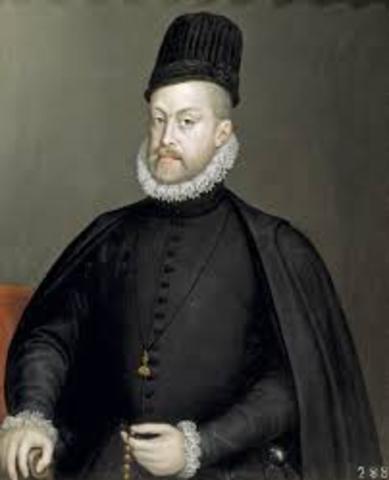 Philip II becomes king of Spain