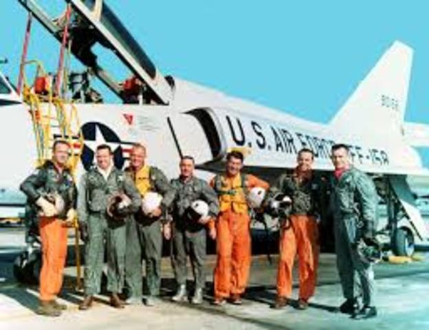 """The """"Mercury Seven"""" astronauts are selected by NASA."""