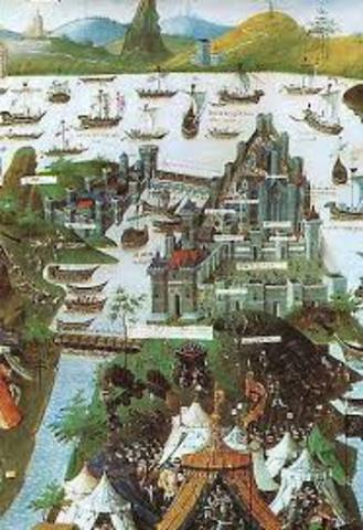 Constantinople (Istanbul) falls to Ottomans and becomes the new Ottoman capital; Byzantine Empire ends.