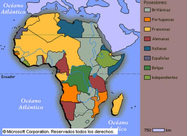 Inicio de la colonización de Africa.