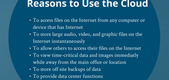 Reasons to use the Cloud