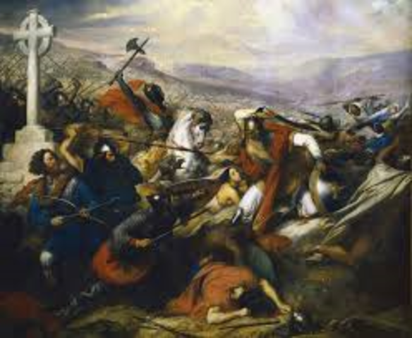 The defeat at the battle of Tours