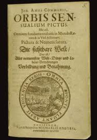 Foi publicado o livro Orbis Pcitus, de Comenius - primeiro livro com imagens, para a escola