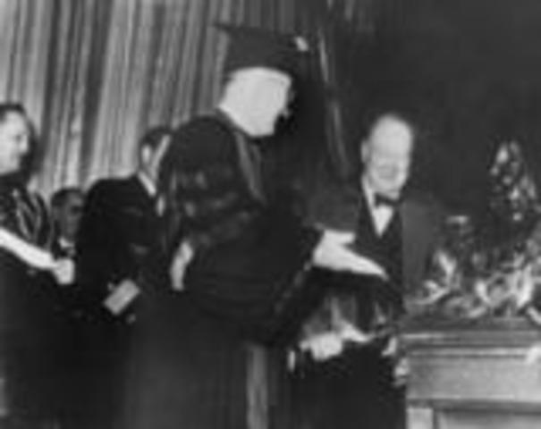 "Winston Churchill delivers ""Iron Curtain"" speech"
