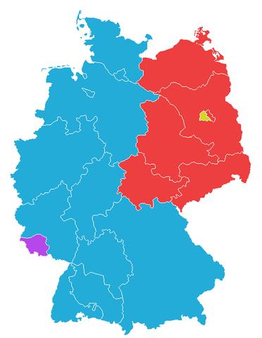Vest-Tyskland og senere Øst-Tyskland blir dannet