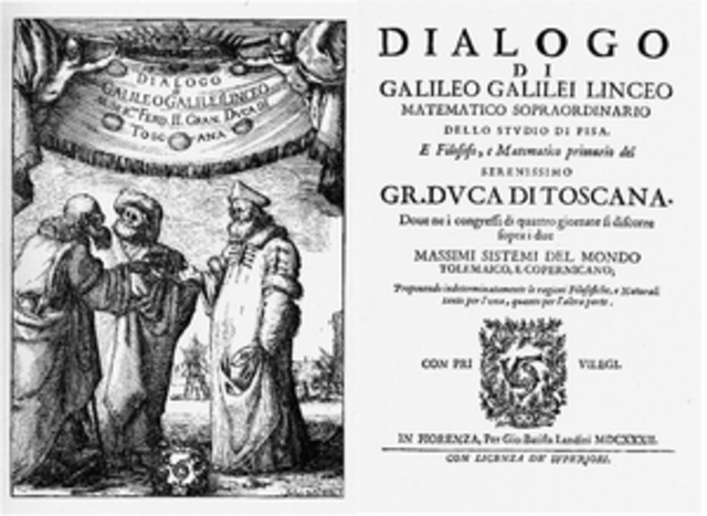Galileo publishes his many findings in Dialogue Concerning the Two Chief World Systems