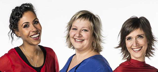 Start van programma 'De Madammen' met Anja Daems, Cathérine Vandoorne en Ilse Van Hoecke