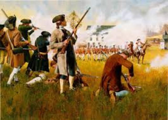 British Army and American Militia exchange fire at Lexington, Massachusetts