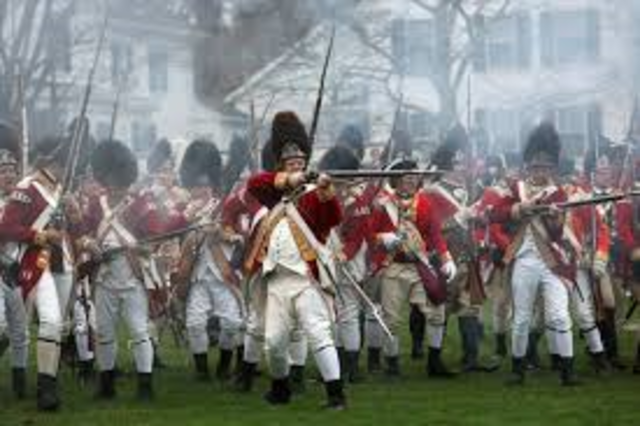 British army and American Milita exchange fire at Lexington Massachusetts