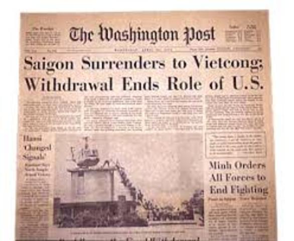 South Vietnam surrenders to communist north korea