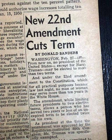 22nd Amendment passed