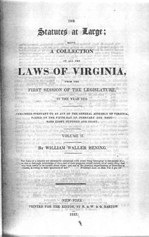 Virginia creates slave code