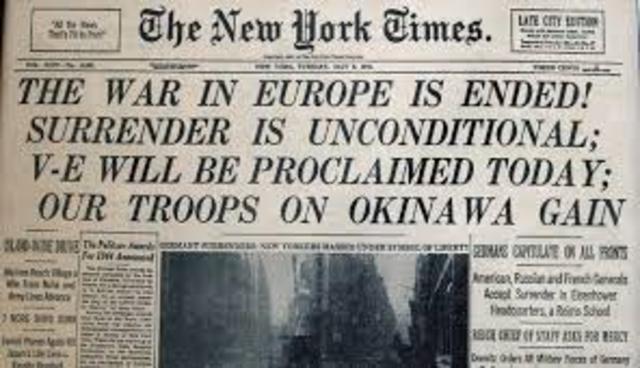V-E Day Germany surrendered
