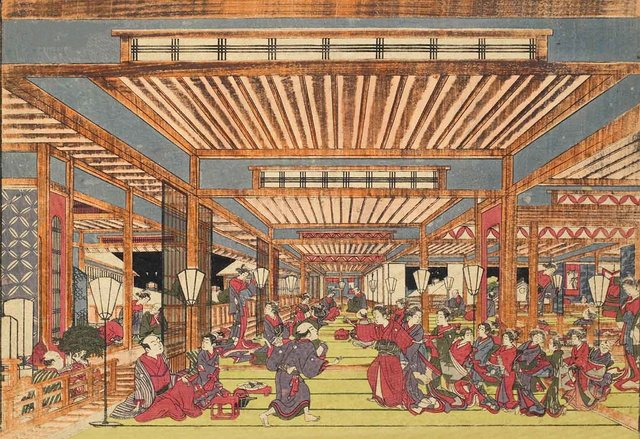 Tokugawa shogunate establishes licensed pleasure quarter in Edo.