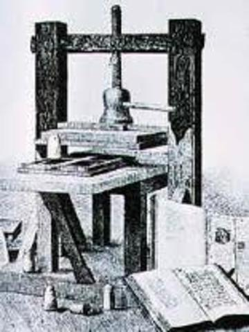 Invention of printing press in Europe.
