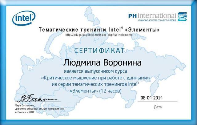 """Сертификат о прохождении Курса Intel® """"Критическое мышление при работе с данными"""""""