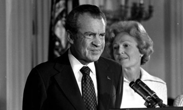 1974 – Richard Nixon resigns, a result of Watergate coverage