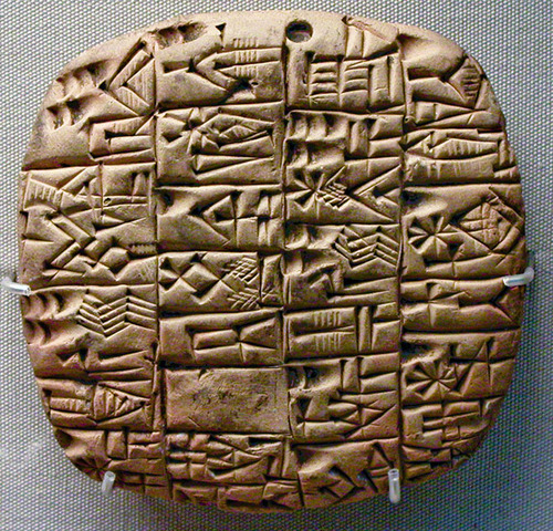 Sumerian word system on clay like slabs