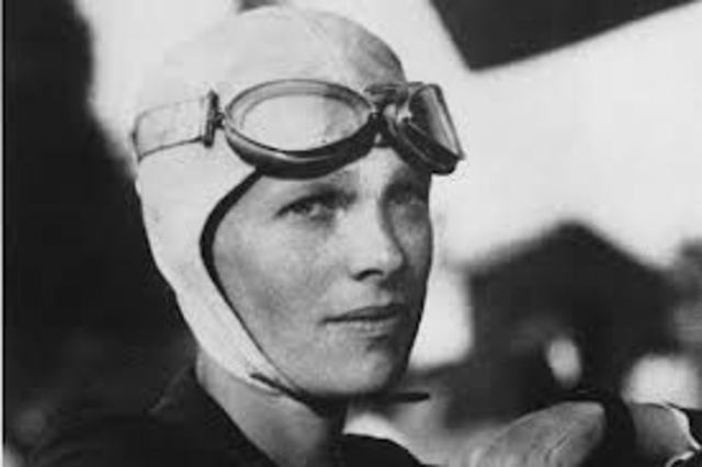 Amilia Earhart takes first flying lesson