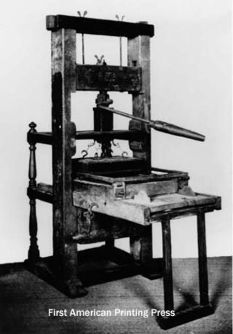 First press in what would become U.S. (Harvard College)