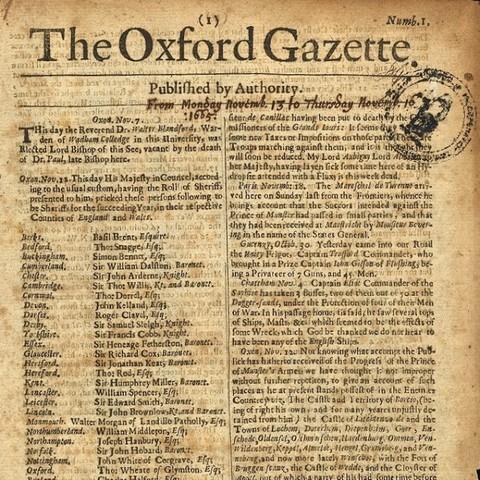 Oxford Gazette (first English-language newspaper) in England