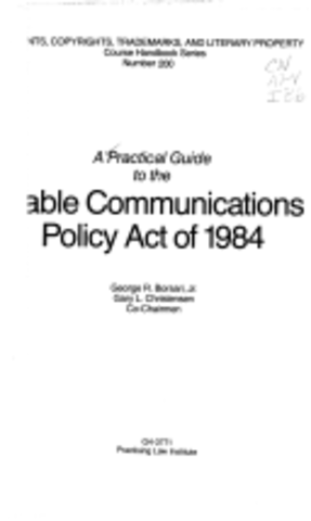 The Cable Communication Policy Act is Passed by Congess