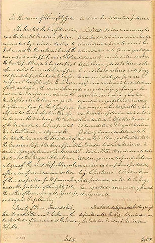 Treaty of Guadalupe Hidalgo cedes northern half of Mexico to the U.S.